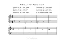 Colour And Play - 4 Activity Sheets In C Major 5 Finger Position